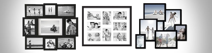 Black collage frames for different photo sizes