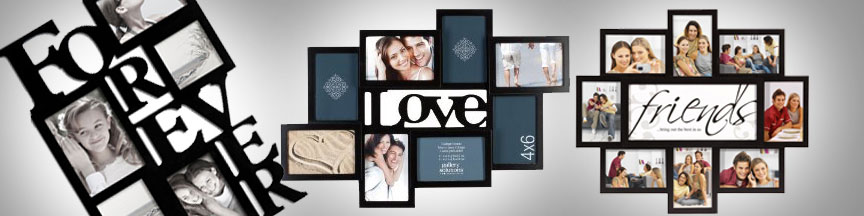 Black collage frames with many choices