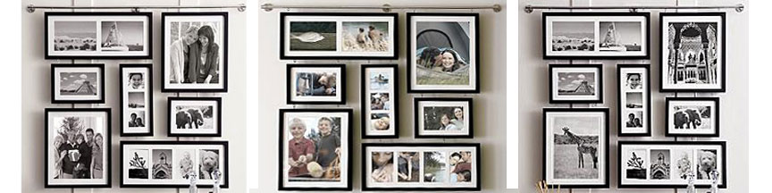 Different style black collage frames with matting