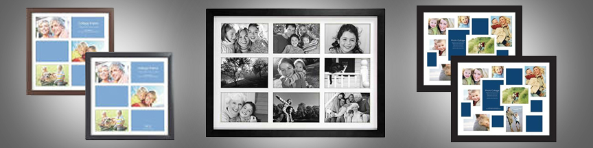 Different color collage frames with matting
